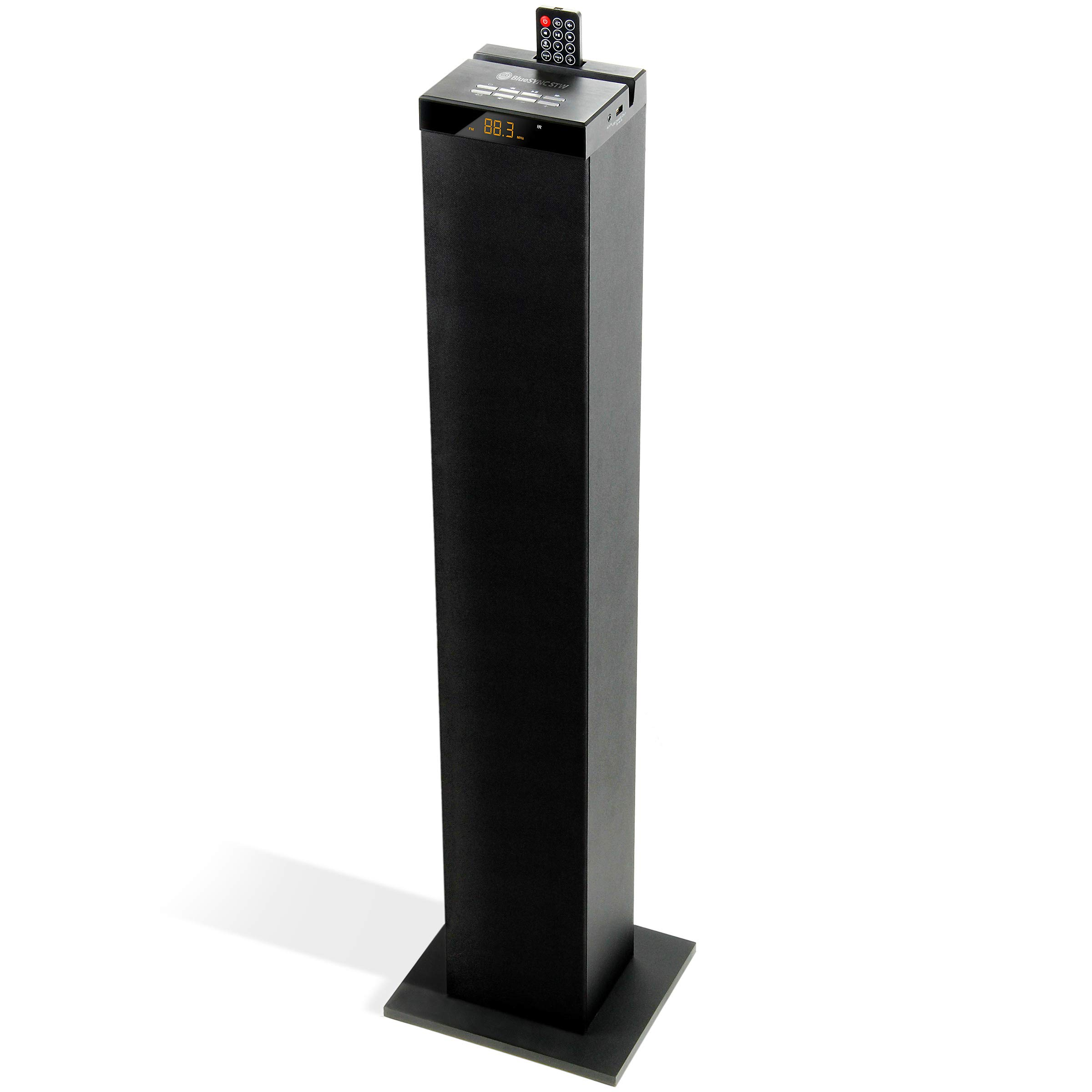 GOgroove Bluetooth Tower Speaker with Integrated Subwoofer [2.1 Audio] BlueSYNC STW Floorstanding Speaker Tower with 120W Peak, 3.5mm AUX, Flash Drive MP3, FM Radio, USB Charging (Single Unit)