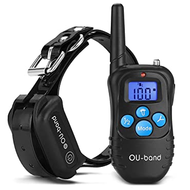 OU-BAND Waterproof Rechargeable Remote Dog Training Shock Collar with Safe Beep, Vibration and Shock Electronic Electric Collar with Upgraded-blue Backlight Screen