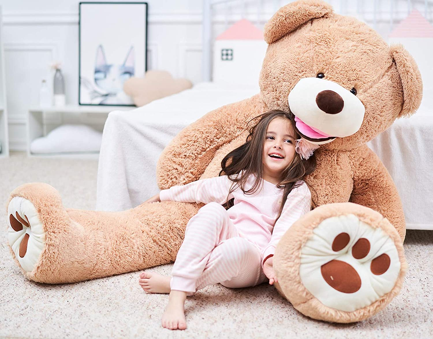 63\ IKASA 63  Giant Teddy Bear Over 5 Feet with Big Footprints Plush Toy Stuffed Animals Light Brown