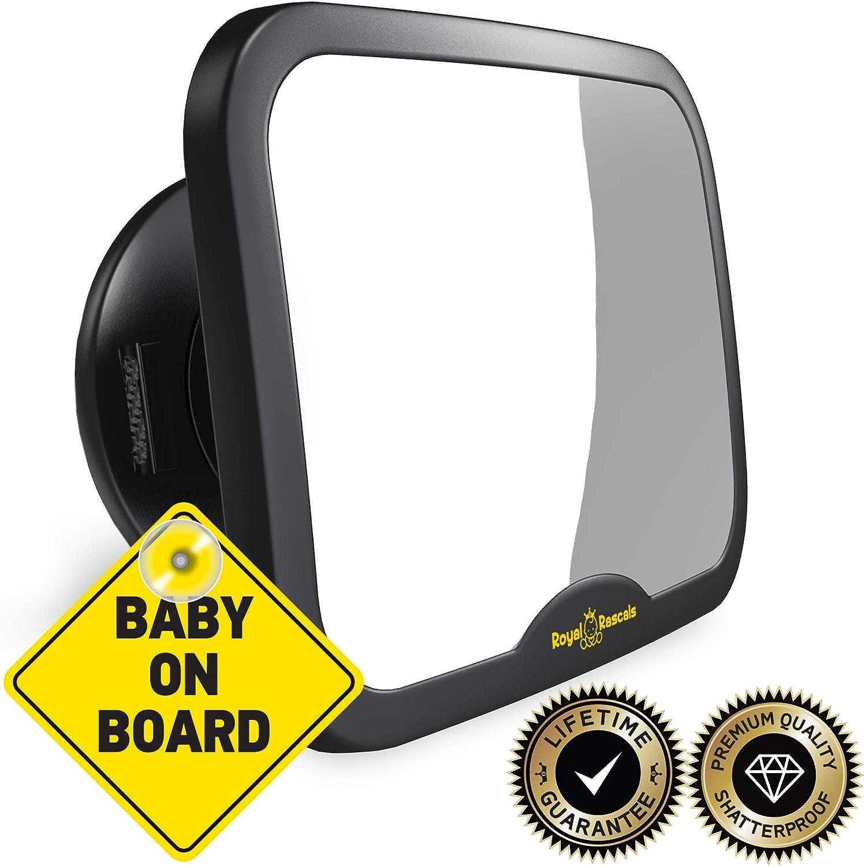 ROYAL RASCALS Espejo coche bebe asiento trasero - espejo retrovisor para vigilar al bebé en el coche - Se adapta a cualquier resposacabezas ajustable, Función de inclinación y giro, 100% inastillable