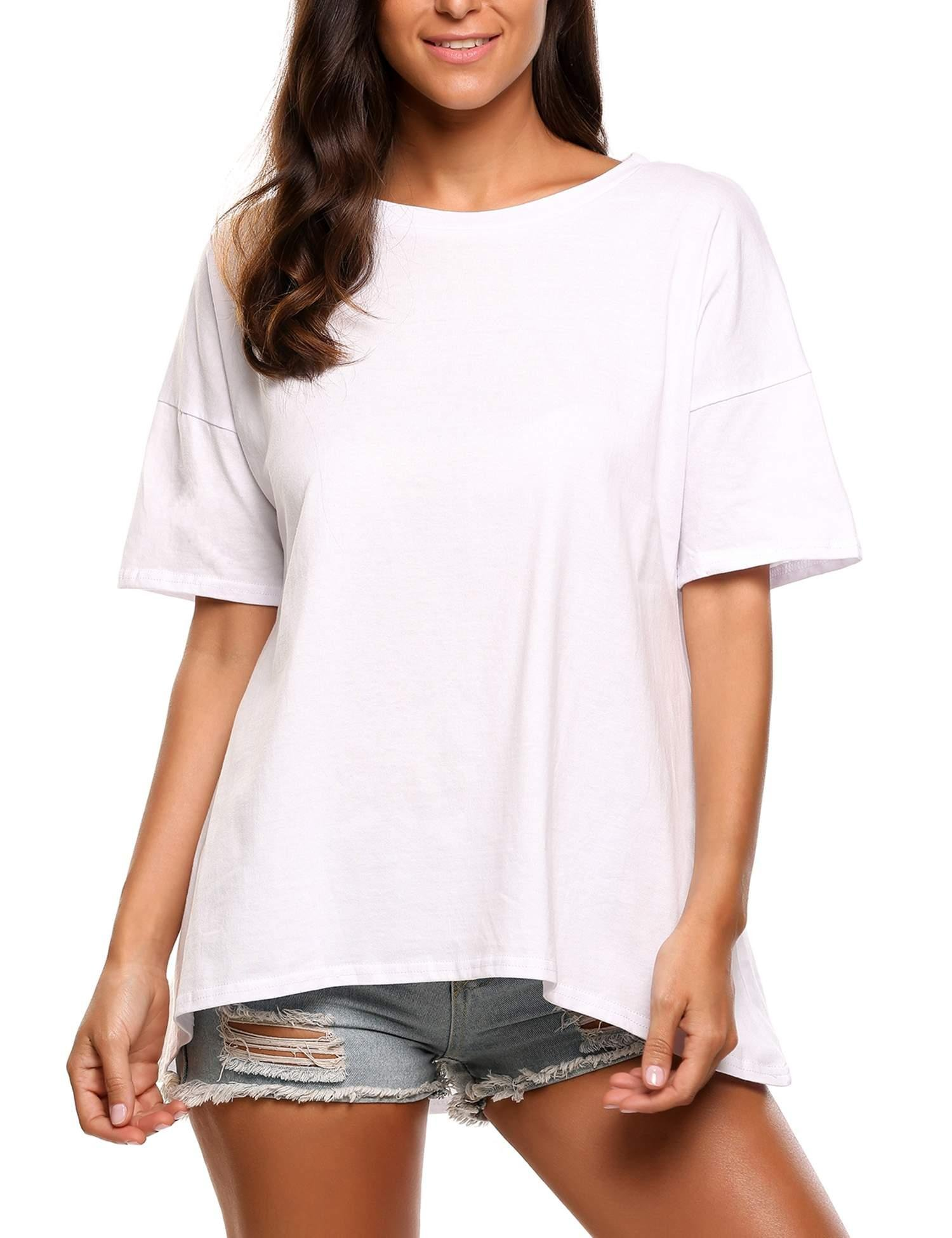 ELESOL Women's Basic Casual Shor Sleeve Crewneck Loose Fit T-Shirt Tee, White