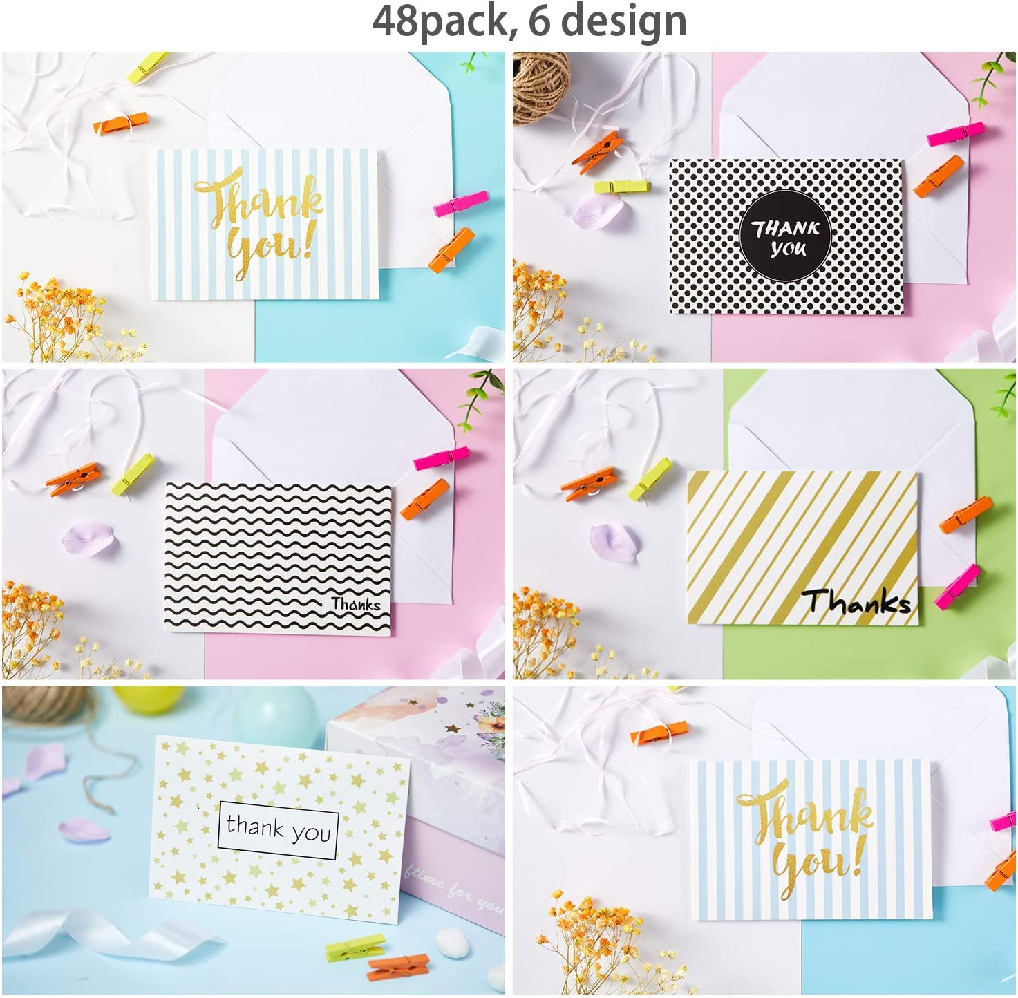 Business Include Envelopes and Stickers Anniversary Baby Shower One Blank Side Thank You Notes Thank You Cards of Ohuhu 4 x 6 Inch 6 Design of 48 Postcard Style Thank U Card for Wedding