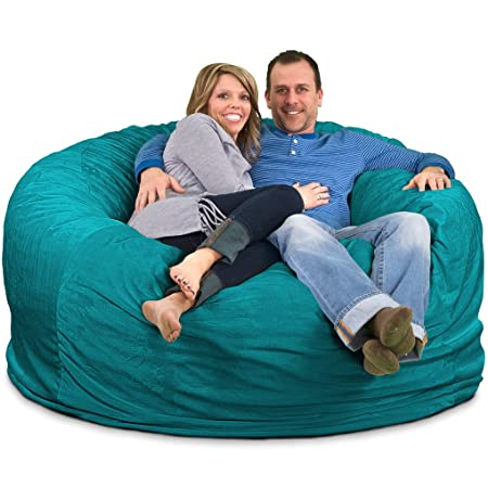 ULTIMATE SACK Bean Bag Chairs in Multiple Sizes and Colors Giant Foam-Filled Furniture – Machine Washable Covers, Double Stitched Seams, Durable Inner Liner. 6000, Teal Suede