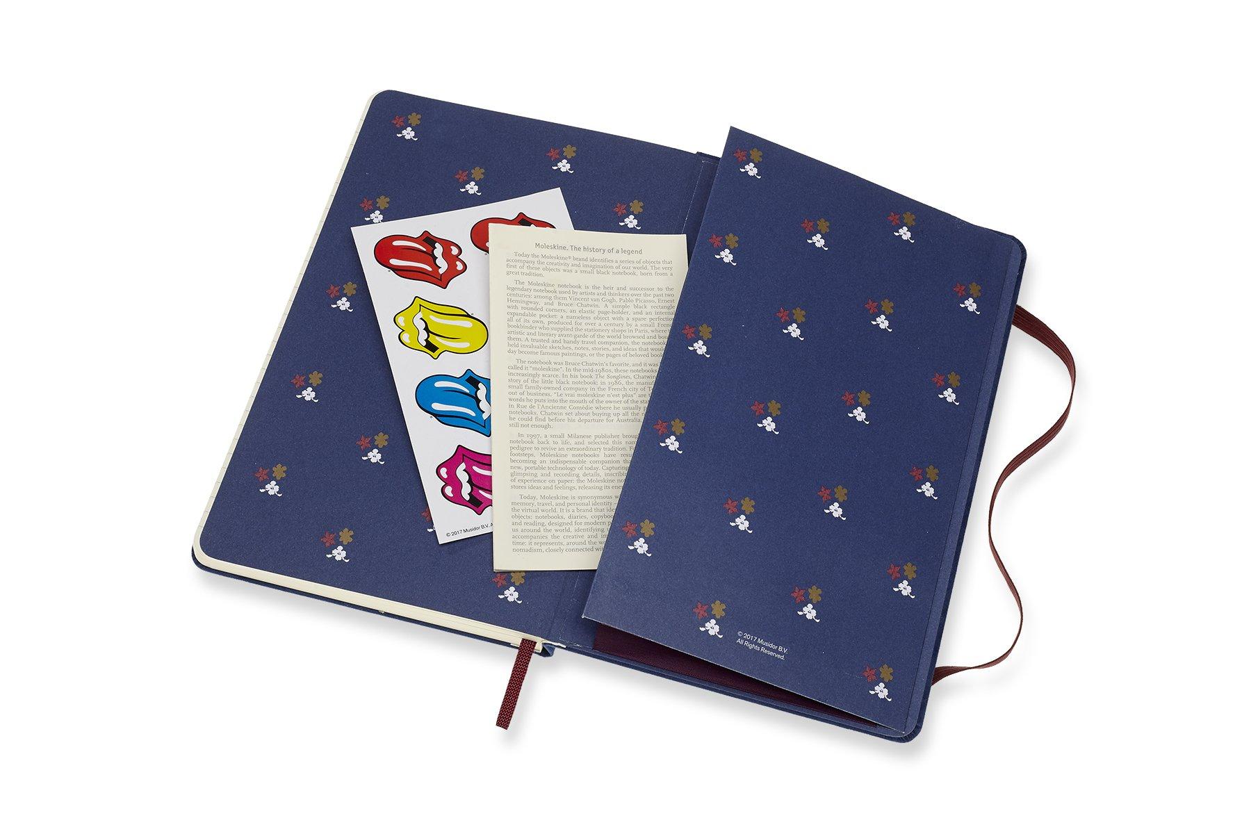 Caderno Edição Limitada, Rolling Stones, Veludo Azul, Capa Dura, Pautado, Grande