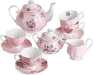 BTäT- Floral Tea Set, Tea cups (8oz), Tea Pot (38oz), Creamer and Sugar Set, Gift box, China Tea Set, Tea Sets for Women, Tea Cups and Saucer Set, Tea Set for Adults, 4 Tea Cups Set, Porcelain Tea Set