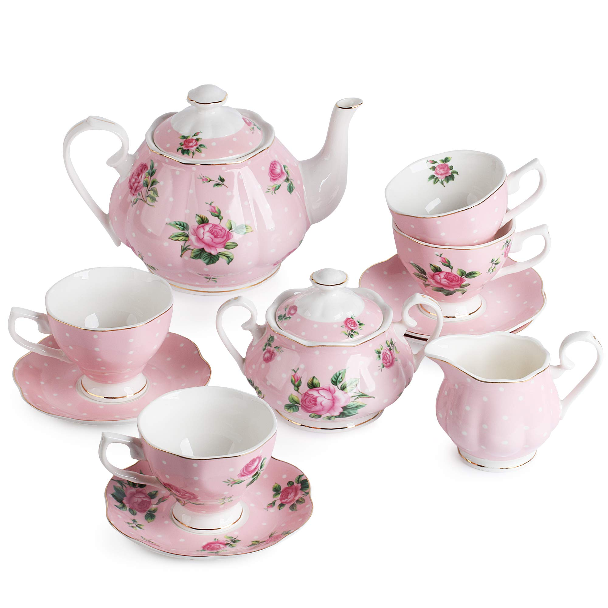 BTäT- Floral Tea Set, Tea cups (8oz), Tea Pot (38oz), Creamer and Sugar Set, Gift box, China Tea Set, Tea Sets for Women, Tea Cups and Saucer Set, Tea Set for Adults, 4 Tea Cups Set, Porcelain Tea Set by Brew To A Tea