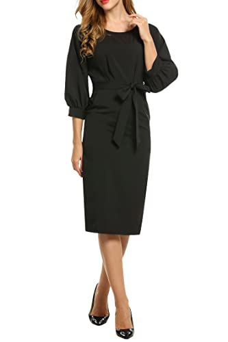 HOTOUCH Women's Retro Slim Business Midi Pencil Dress With Belt