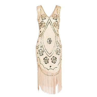 b5f10db8069 20 s Vintage Sequin Beaded Fringe Dress - Art Deco Shimmer Flapper Dress