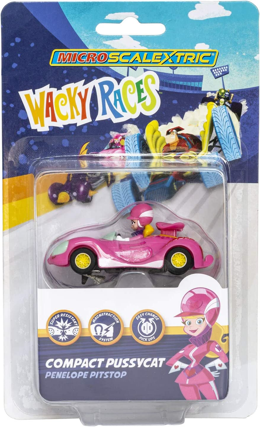 Track Extension Pack-Straights Analogue Curves and Loop Micro Scalextric Wacky Races with Dick Dastardly /& Muttley vs Peter Perfect Mains Powered Race Set Wacky Races Penelope Pitstop Car+++