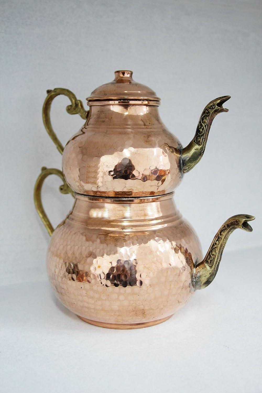 Grandbazaarshopping Copper Turkish Tea Maker, Samovar, Artisan Handmade, Traditional Turkish Tea Maker, Tea Pot by GrandBazaarShopping