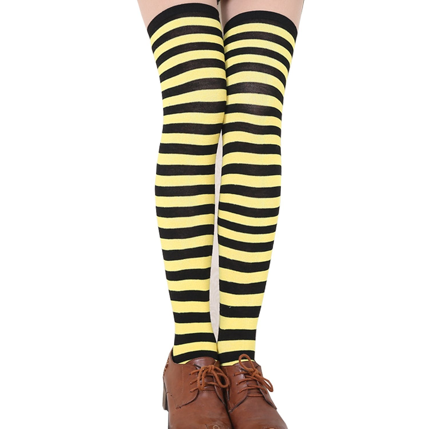 9d153a15839 Amazon.com  ONEFIT Striped Thigh High Socks Over Knee Girls Halloween  Cosplay (Black white)  Clothing