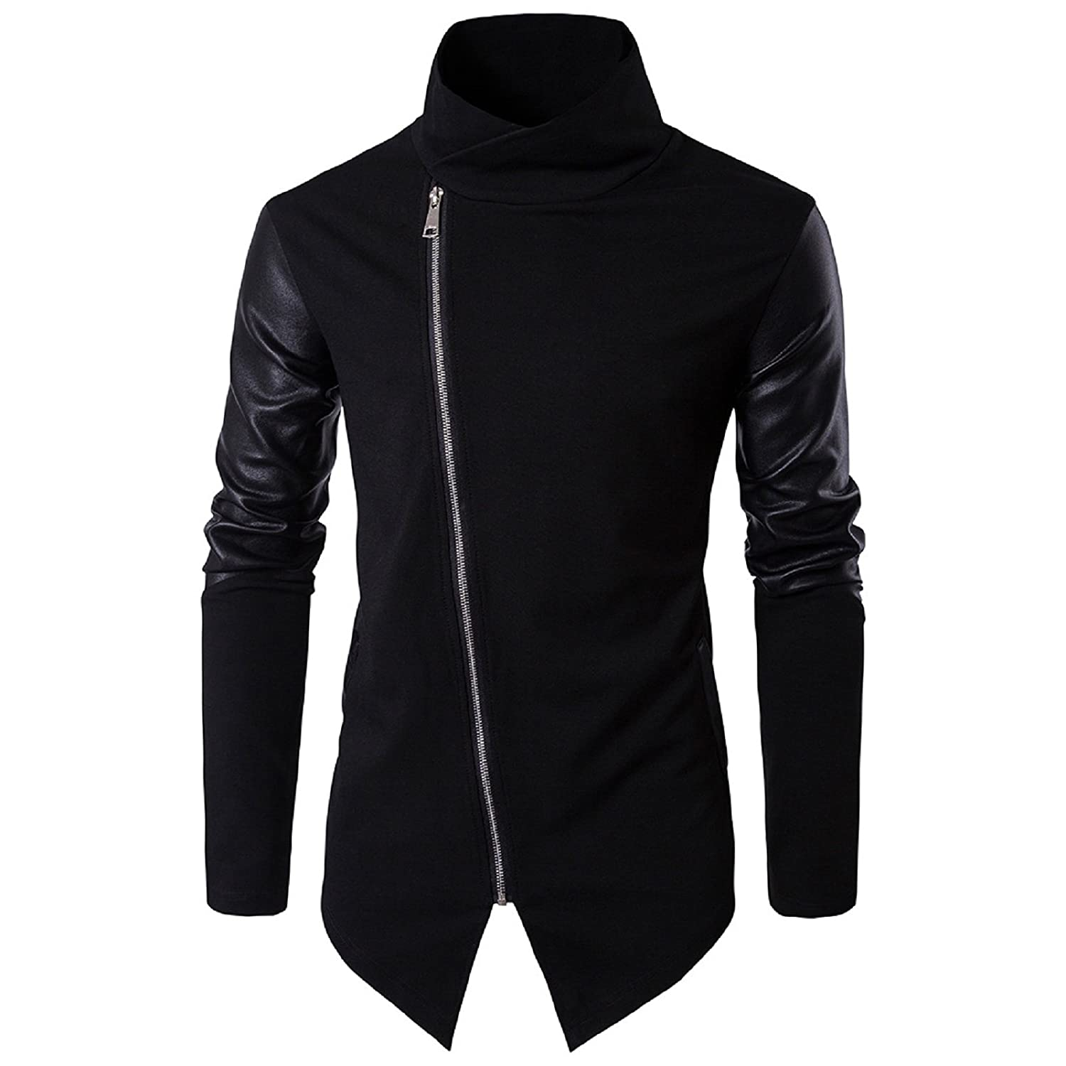 WSLCN Mens Fashion Knit Zipped Cardigan Stitching Artificial Leather Sleeves X01001