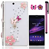 USA                  FiMeney             Sony Xperia Z Ultra XL39h   C6802    C6806   C6833     ハードケース/保護カバー/デコケース/ジャケット                               ピンクなツバキ                                       蝶姉妹                                 キラキララインストーンを飾る                                          最高プレゼント                       キュートな桜と蝶のピアス一個ずっつ スタイラスペン一つをおまけます!!!!!!