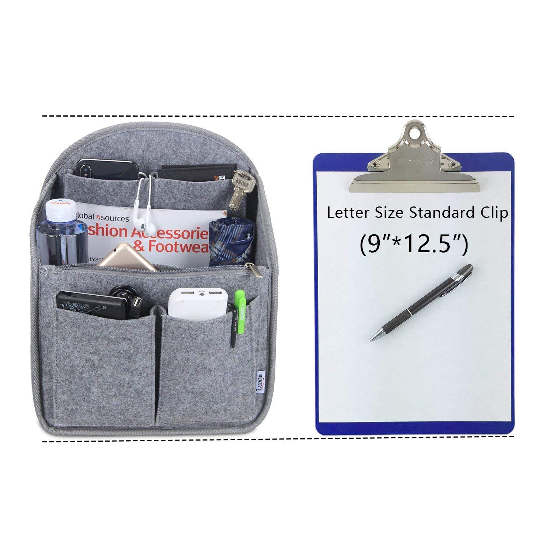 Luxja Backpack Organizer Felt Organizer Insert for Backpack Small Felt Organizer Insert for Backpack Gray