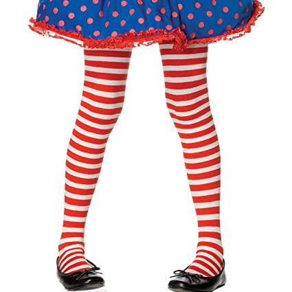 0c2a6acd9a7 Amazon.com  Red and White Striped Tights Child - Large  Toys   Games