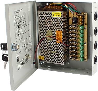 RPS Fuente de alimentación con Caja Metalica y Llaves incluida para CCTV y cámaras de videovigilancia 18X14X5 Cm DC 12V 5A 60W 9CH: Amazon.es: Electrónica