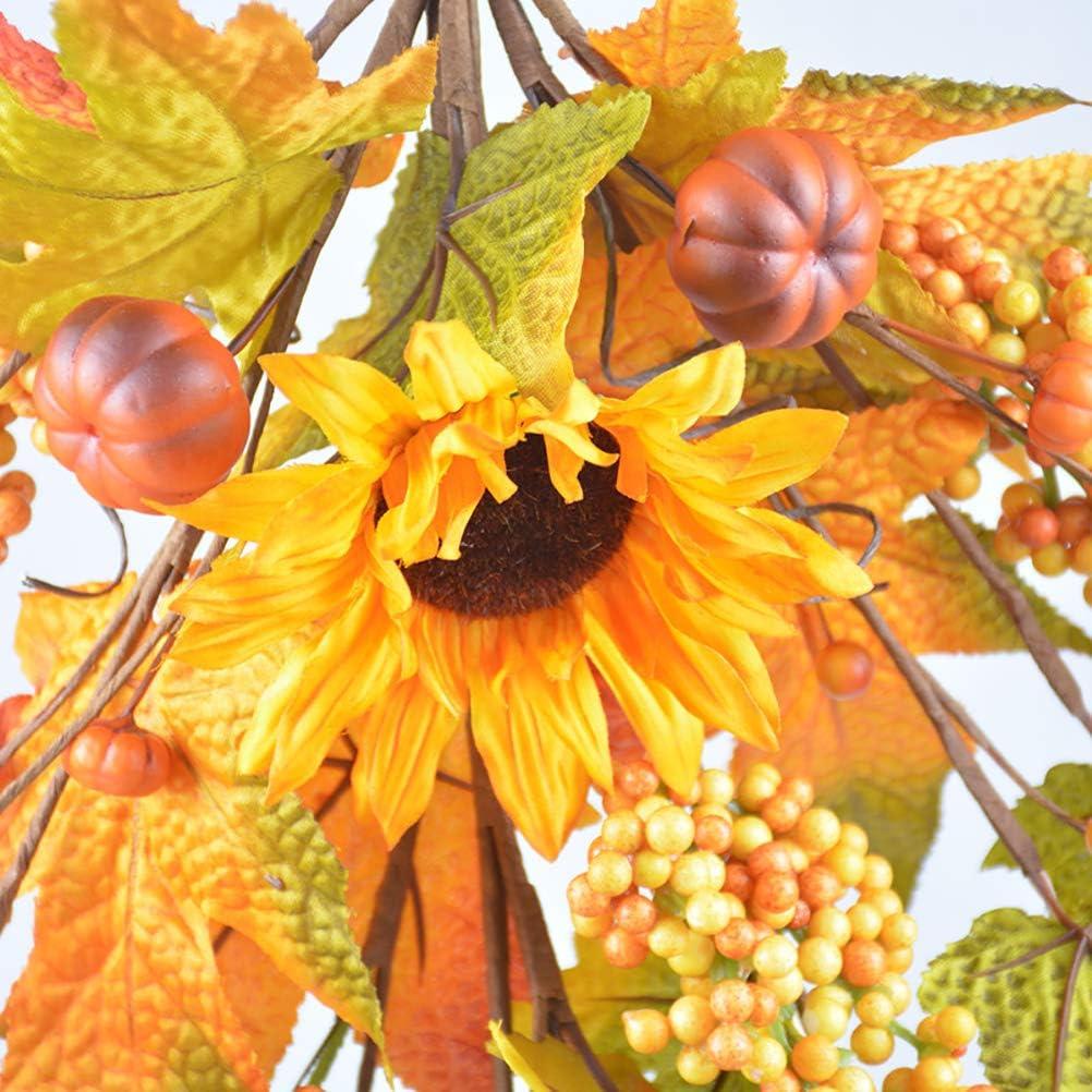 Guirlande /à la Main d/écorative Artificielle pour Halloween Automne couronnes de Tournesol et de Feuillage couronnes de Porte Guirlande Murale Twakom Couronne d/écorative 64cm