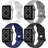 [4 Pack] Silicone Bands Compatible with Apple Watch Band Series 6 5 4 3 2 1 & iWatch SE for Women Men, Soft Sport Strap Repla