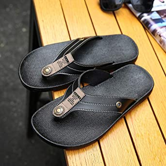 0cd38530f79 Amazon.com  HOSOME Men s Slippers Casual Flats Platform Flip Flops Antiskid  Men Beach Shoes  Clothing