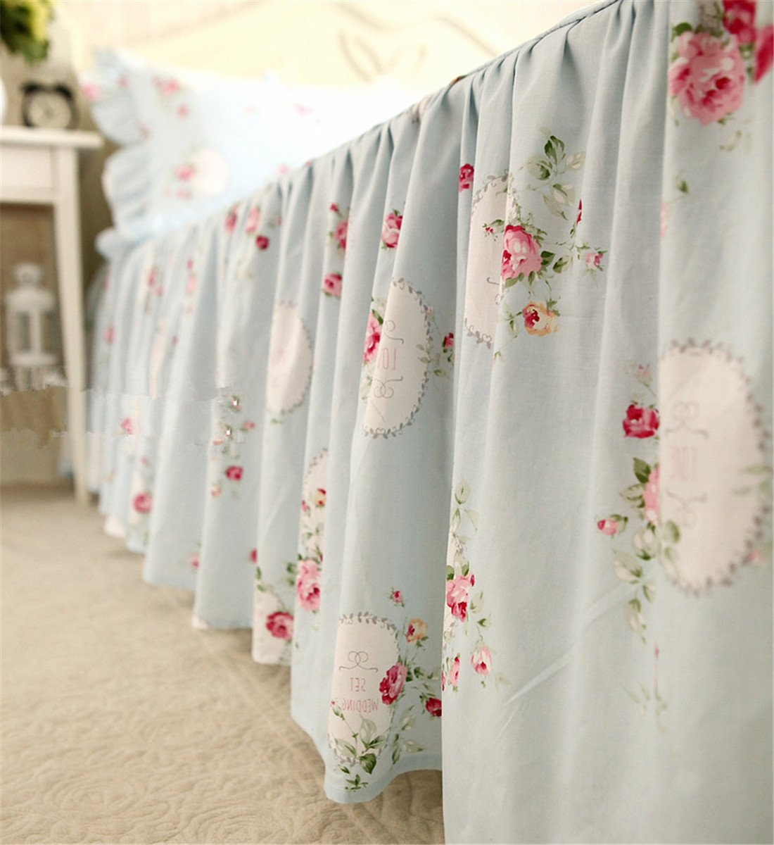 Lotus Karen 100%Cotton Blue Pastoral Flowers 4PC Floral Bed Sheet Set Ruffles Korean Bedding Set With Romantic Love Letters Patterns For Wedding Bedding King,1Duvet Cover,1Bedskirt,2Pillowcases by Lotus Karen (Image #5)