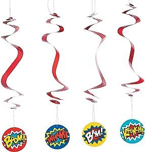 Fun Express - Superhero Dangling Swirls for Birthday - Party Decor - Hanging Decor - Spirals & Swirls - Birthday - 12 Pieces