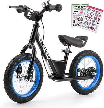 ENKEEO - 12 Bicicleta sin Pedales, Bicicleta de Equilibrio, Entrenamiento Transicional en Bicicleta, Asiento Ajustable y Manillares Tapizados para Niños de Menos de 110 cm de Altura, Negro: Amazon.es: Deportes y aire