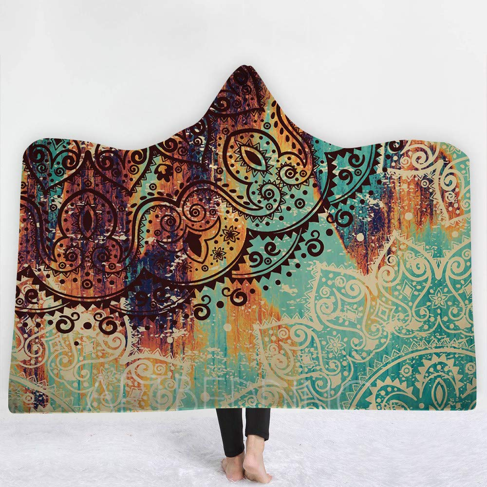 iBlan Couvertures de Jet Le canapé Le lit,Manteau de Couverture à Capuchon200 * 150cm deCouverture rétro de Style Ancien d'impression numérique 3D
