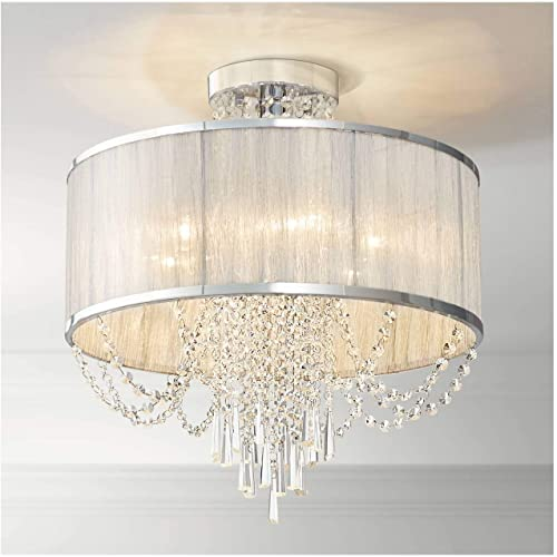 Ellisia Ceiling Light Semi Flush Mount Fixture Silver 19 3 4 Wide Sheer Organza Fabric Drum Shade Crystal Accents for Bedroom Kitchen Living Room Hallway Bathroom – Vienna Full Spectrum