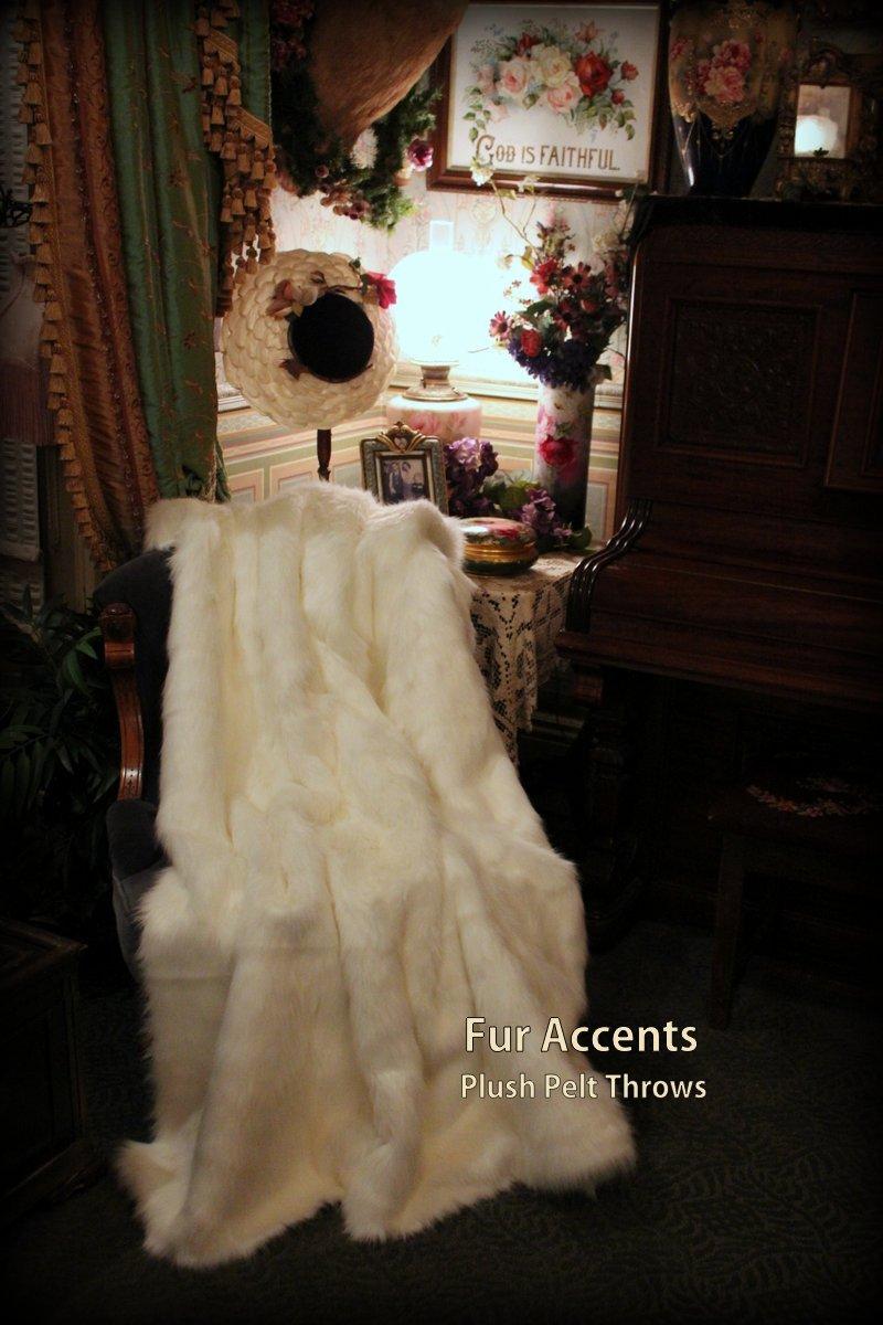 Fur Accents Throw Blanket Warm White Mink Fur /60'' X 70''
