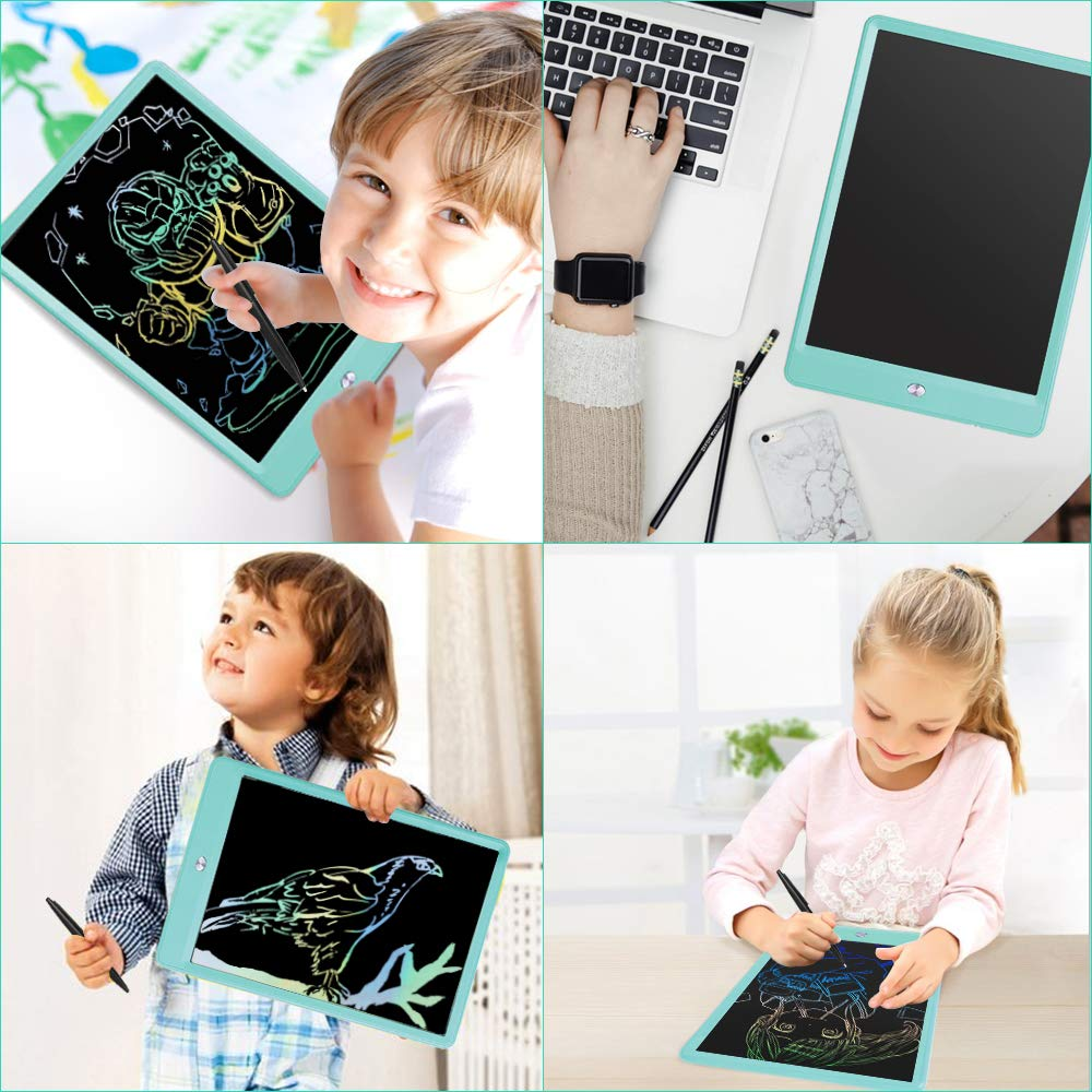 Drawing Tablet 10 Inches LCD Writing Tablet Colorful Screen, Doodle Board Electronic Doodle Pads Writing Board for Kids and Adults(Blue) by ZBHT (Image #5)