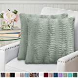 Home Soft Things Pompom Faux Fur Pillow Combo Set 50 x 60 Sage BNF Home THRPPF5620SGE