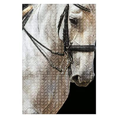 1000 Pieces Wooden Jigsaw Puzzle Portrait of Grey Horse on Black Background Colorful Animals Stock Fun and Challenging Board Puzzles for Adult Kids Large DIY Educational Game Toys Gift Home Decor: Toys & Games