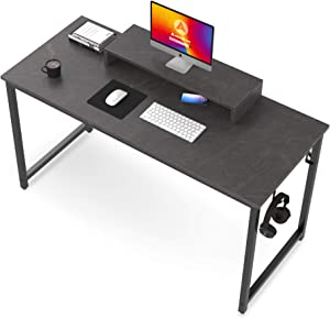 Computer Desk, 39 inch Home Office Study Writing Desk, Simple Style Small PC Table, Dark Grey Marble Board with Black Metal Frame