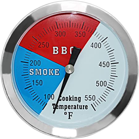 2Pcs BBQ Smoker Grill Thermometer Stainless Steel Temp Gauge Meat Cooking
