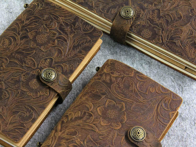 fatto a mano standard size embossed brown Taccuino in stile retr/ò in pelle goffrata per diario di viaggio per lavoro ufficio