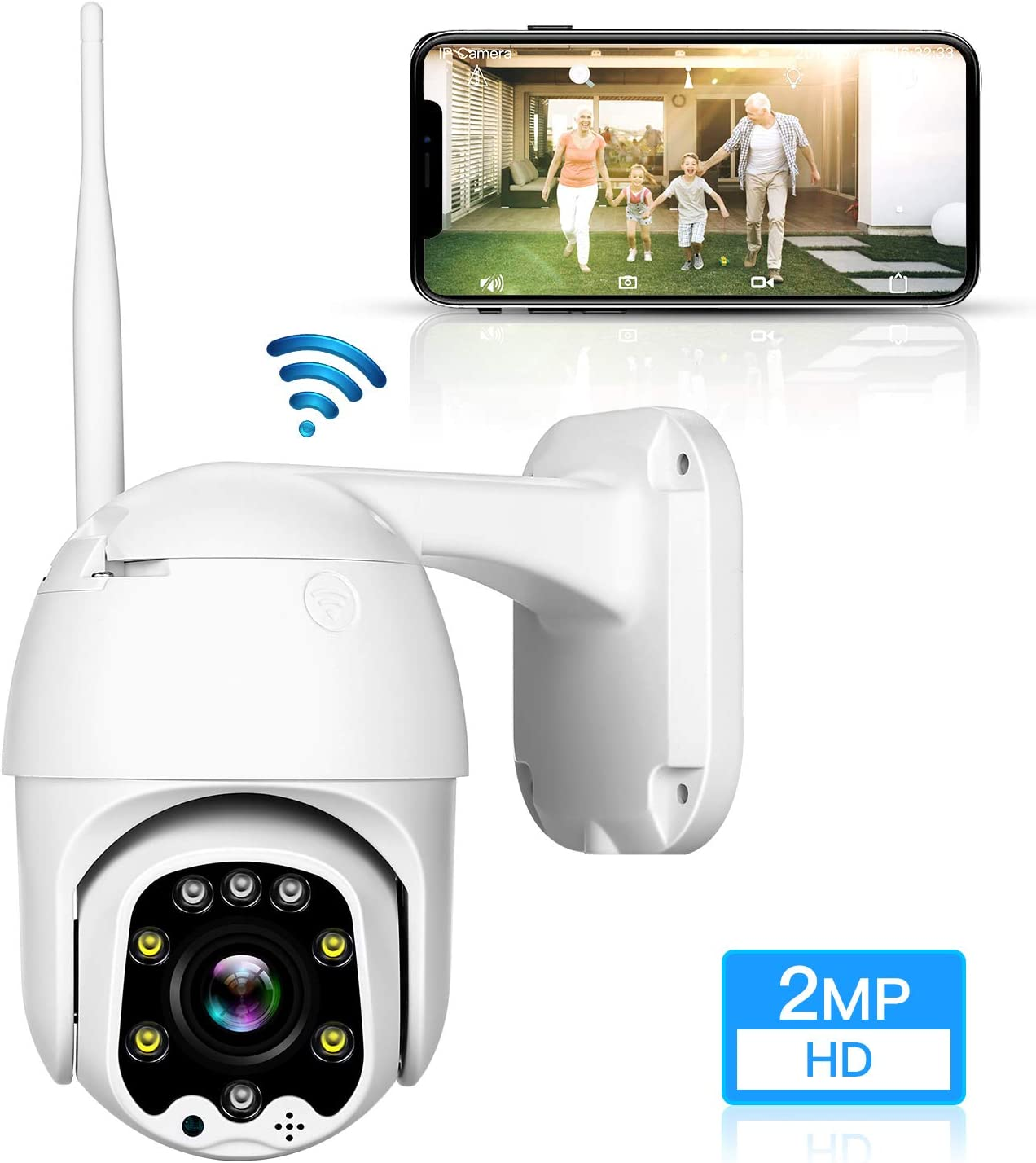TOMLOV 2MP HD WiFi Outdoor PTZ Security Camera with 5X 2.7-13.5mm Optical Zoom, 10921080 Pixel, Intelligent Full-Color Night Vision, Two-Way Audio, 5db External Antenna, for House