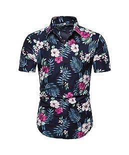 HCFKJ Moda Hombre Verano Bohe Lino Manga Corta Camiseta BáSica Blusa Fit Slim Top