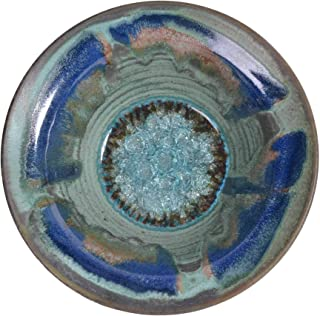 product image for Dock 6 Pottery Flared Bowl with Fused Glass, Medium, Green with Accents