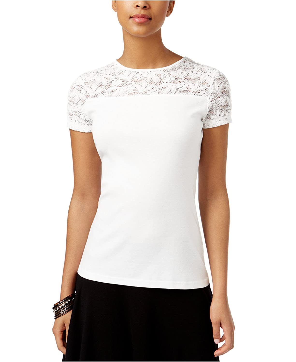 American Living Womens Short Sleeve Lace Yoke Top Small White At