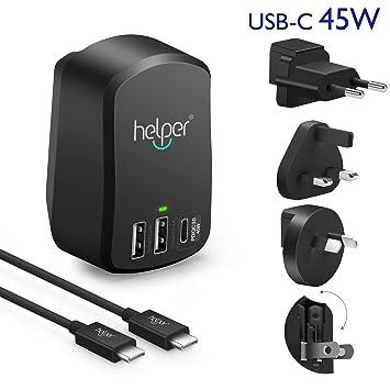 helpers lab Cargador de Pared 45W USB C Carga PD Adaptador ...