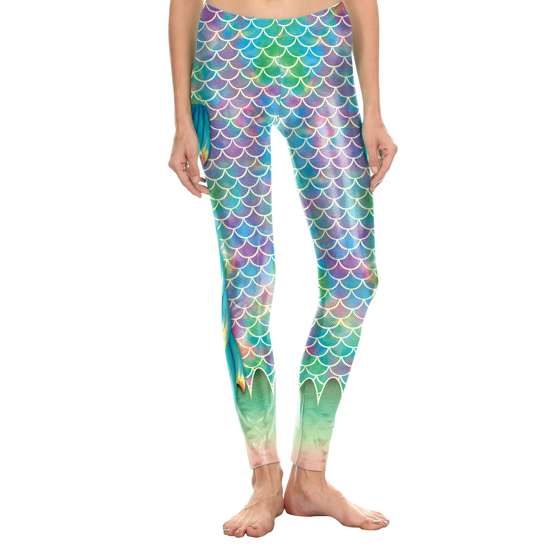 MAOYYMYJK Yoga-Hose Für Damen Meerjungfrau Leggings 3D Digitaldruck Fischschuppen Frauen Neun Hosen