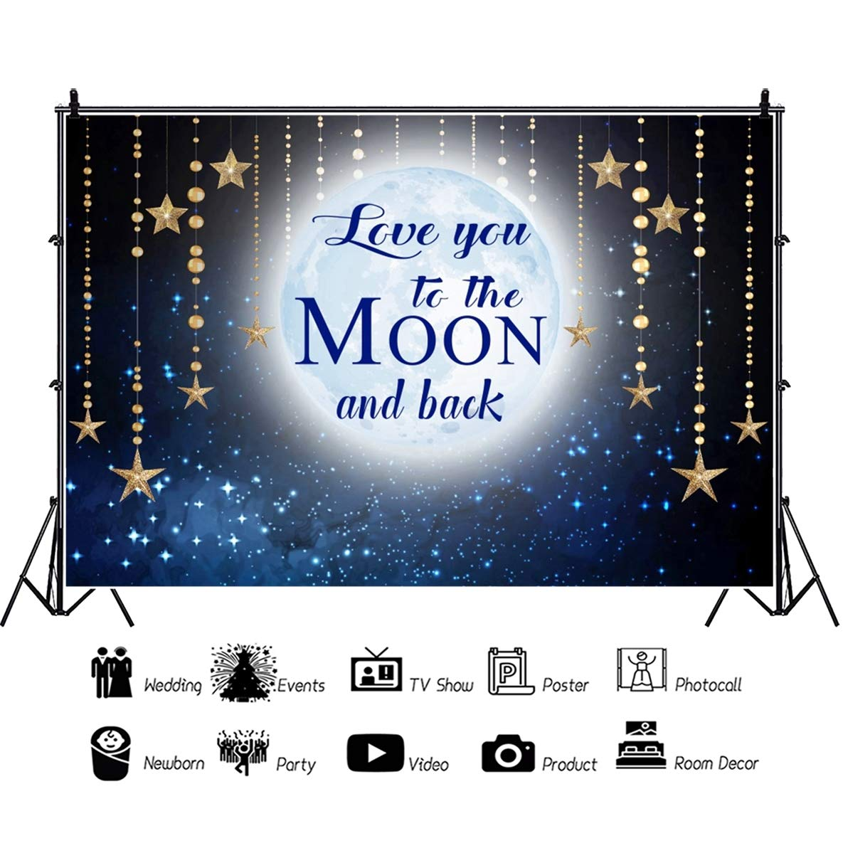 DORCEV Love You to The Moon and Back Photography Backdrop Kids Adult Birthday Party Backdrop Starry Sky Shiny Stars Sky Lover Adult Wedding Photo ...