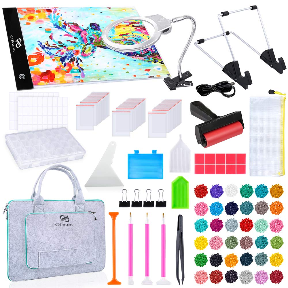 PP OPOUNT Full Range of 5D Diamond Painting Set with A4 LED Light Pad, Polyester Felt Hand Held Case Bag, Magnifier LED Light, Round Diamonds and Accessories for Diamond Painting by PP OPOUNT