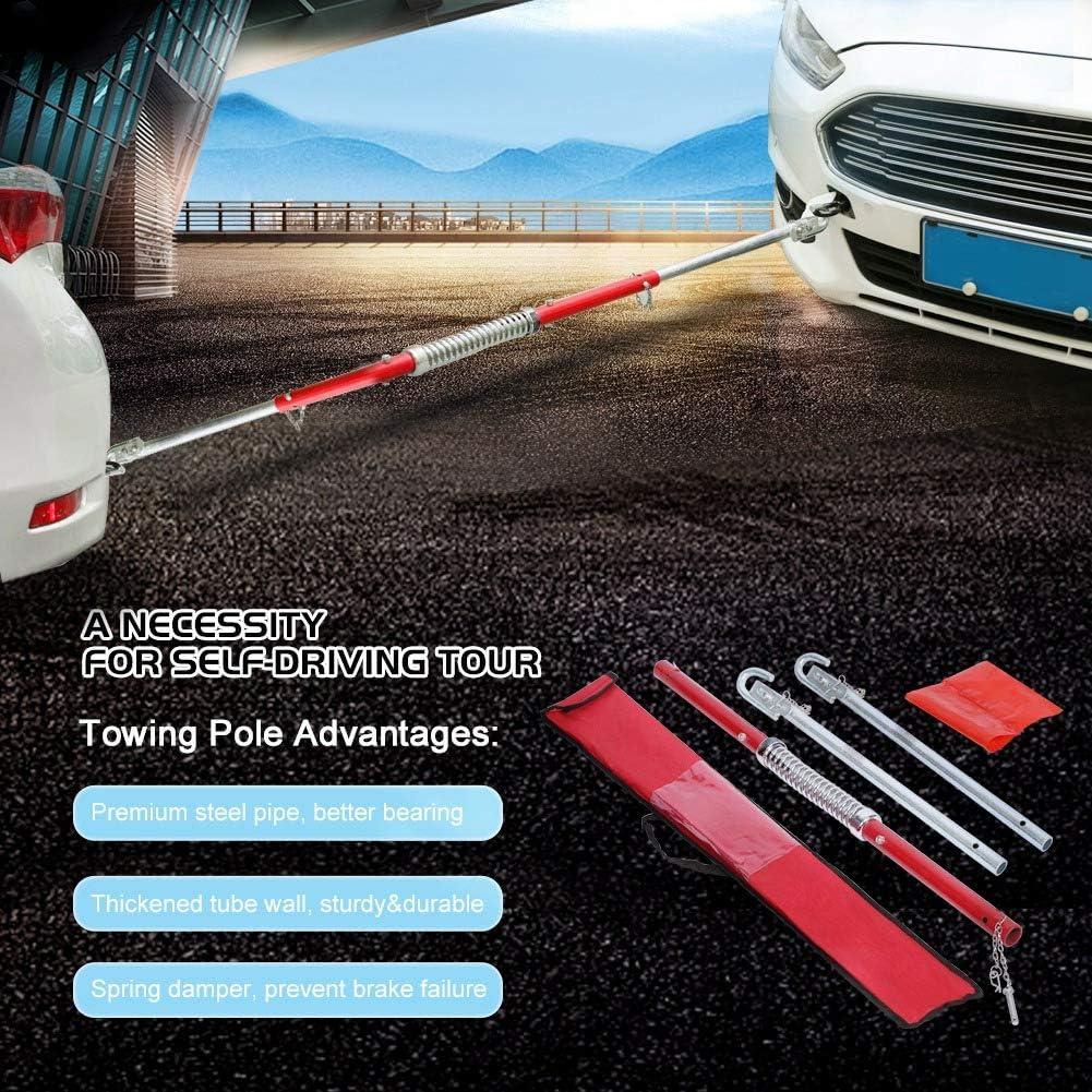 Cikonielf 2T Gancio Traino per Auto,Barra di Traino per Auto,Barra di Traino Ammortizzata a Molla,Acciaio Resistente,Facile da installare