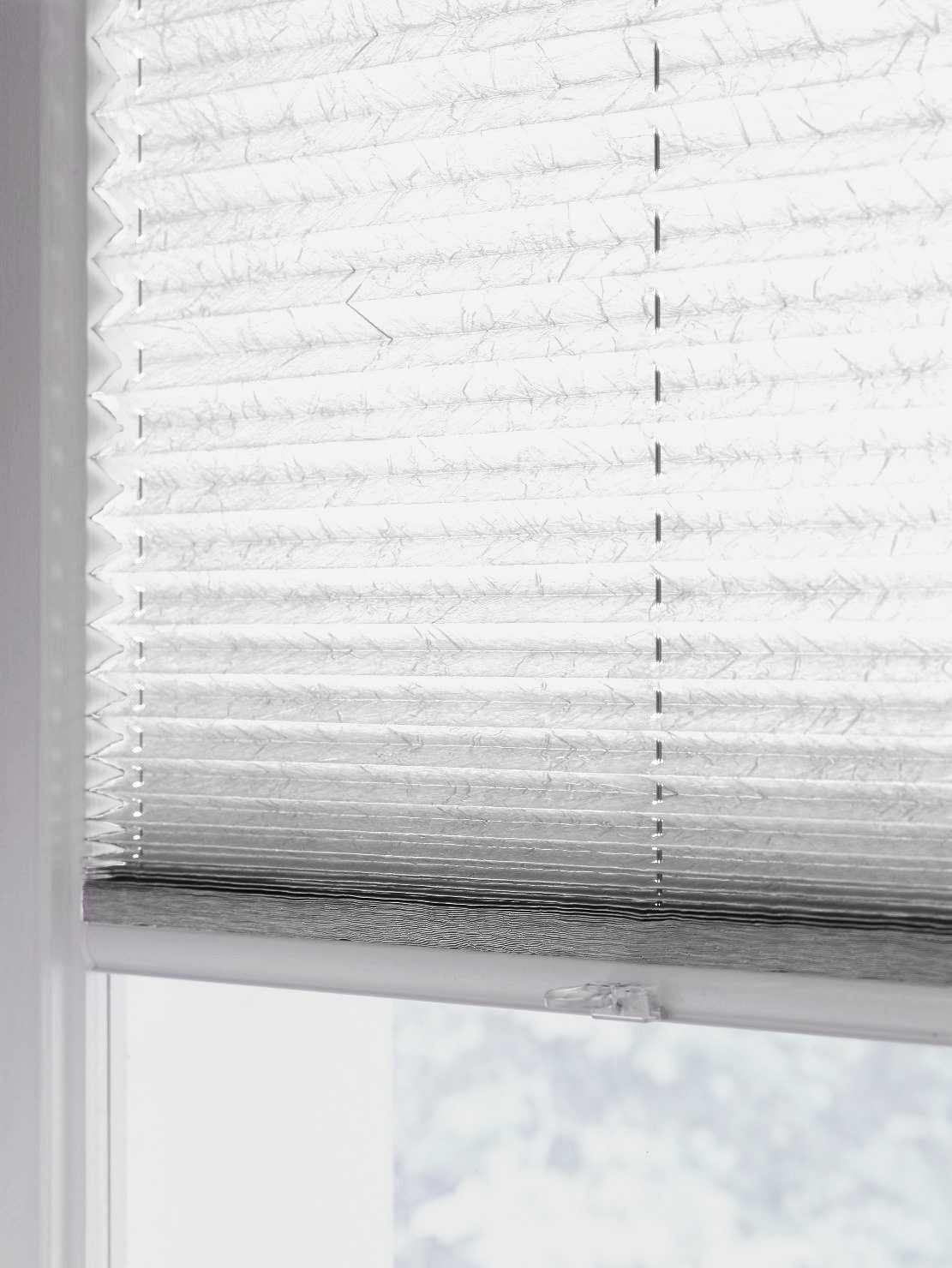 Sun collection Plissee Faltstore, lichtdurchlässig und Blickdicht, Profilfarbe Silber mp (auch mit weißen Profilen erhältlich) B01E7L0WE6 Seitenzug- & Springrollos