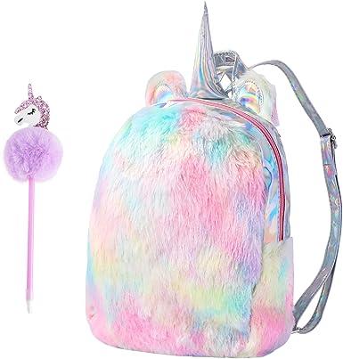 Unicorn Backpack Girl Sequins Plush Backpack Cartoon Cute Travel Backpack