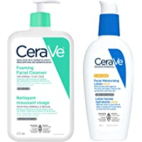 CeraVe Daily Face Cleanser and Facial Moisturizer Bundle, Foaming Facial Cleanser for Oily Skin and Face Moisturizer…