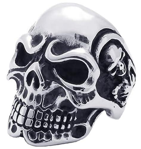 AieniD Anillos Hombre Acero Inoxidable Gótica Alianzas Vintage Biker Banda Venda Cráneo Calavera Grabado 31Mm Size