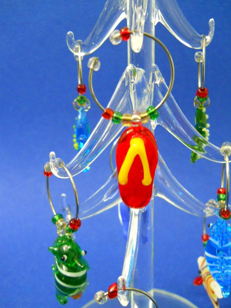Glass Christmas Tree with Removable Sea Life Wine Charms New Hand Blown