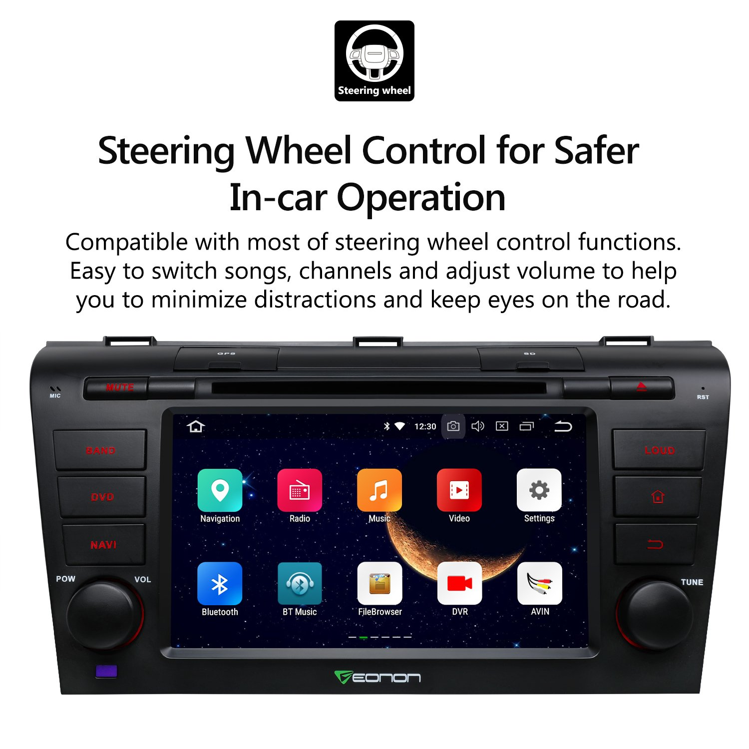 2019 Double Din Car Head Unit Eonon Android 8.1 Car Stereo Car Radio with Bluetooth 7 Inch Applicable to Ford F150 2005,2006,2007 and 2008 in Dash Touch Screen Support WiFi,Fastboot-GA9173K